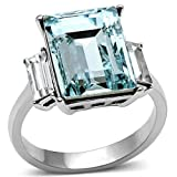 Ah! Jewellery Lifetime Guarantee 3 Stones Ever Lasting Stainless Steel Aqua Marine Emerald Cut Simulated Diamonds Dazzling Ring. Stamped 316. Outstanding Quality Never Tarnish.