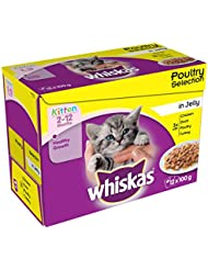 Whiskas 2-12 Months Wet Cat Food for Junior cats Poultry Selection in Jelly, 12 x 100g (1.2kg)