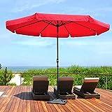 shougui trade Ombrellone 305 cm Ombrello da Mercato Ombrellone da Giardino Ombrellone da Giardino Verde Rotondo Protezione Solare UV30 + per Esterno, Giardino e Patio- Rosso
