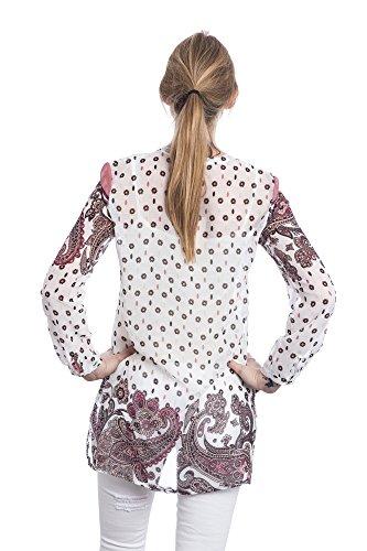Abbino 6932 Tuniques Femmes Filles - Fabriqué en Italie - 2 Couleurs - Transition Printemps Été Automne Plaine Manches Longues Elegante Vintage Col Roulé Casual Sexy Tricot - Taille Unique Blanc