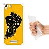 WoowCase Wiko Selfy 4G Hülle, Handyhülle Silikon für [ Wiko Selfy 4G ] Motivphrase - Never Give Up Handytasche Handy Cover Case Schutzhülle Flexible TPU - Transparent