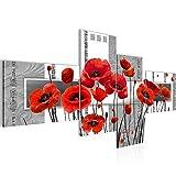Bilder Blumen Mohnblumen Wandbild 200 x 100 cm Vlies - Leinwand Bild XXL Format Wandbilder Wohnzimmer Wohnung Deko Kunstdrucke Rot Grau 4 Teilig - MADE IN GERMANY - Fertig zum Aufhängen 205841a
