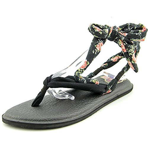 Sanuk Womens Yoga Slinged up Prints Black/Black Floral Thong Sandal - 6 -
