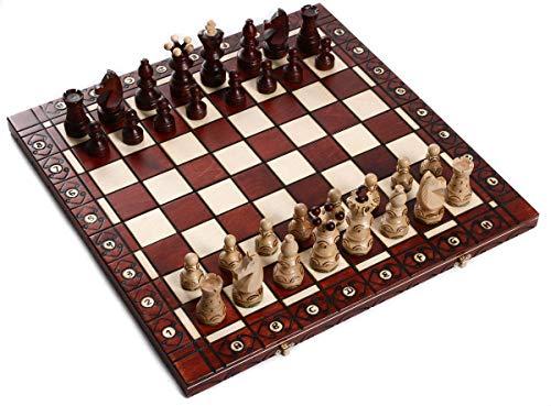 Schach Schachspiel Hochwertiges Schachbrett Spielkassette Figuren aus Holz klappbar Handarbeit Beste Qualität Größen wählbar (55x55 cm)