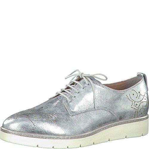 Tamaris Damen Plateau-Schnürschuhe Silber, Schuhgröße:EUR 40