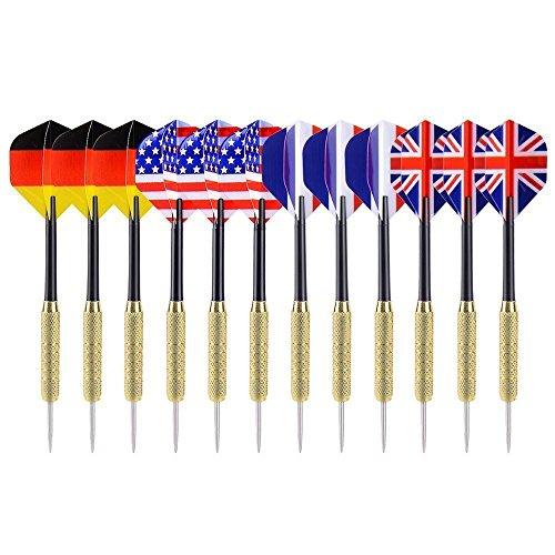 Maleap 1218Stilvollen & Fun Designs Spitze Darts mit Vier Styles National Flagge Flights Edelstahl Nadel für Anfänger, UK+US+DE+FR Flag -
