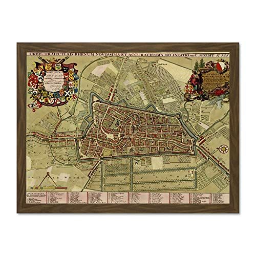 Doppelganger33 LTD Maps Vintage City Plan Utrecht Netherlands Surrounds Art Large Framed Art Print Poster Wall Decor 18x24 inch Supplied Ready to Hang