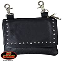 Black LADIES CLIP POUCH PURSE with Studs, Adjustable Strap with Heavy Duty Lobster Claw Clips - 8 X 5 X 1