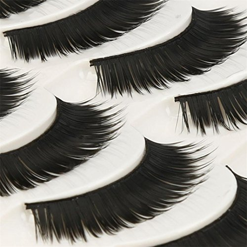 VovotradeSale! 5 Paires de mode Naturel à la Main Long Faux Cils Noirs Reuseable Maquillage Pro (Noir)