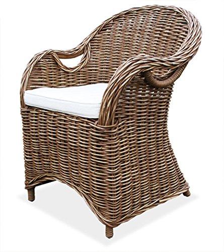 KMH®, Schöner Korbstuhl/Korbsessel Athen (braun) mit robustem Bambusgestell - inklusive Sitzkissen! (#400183)