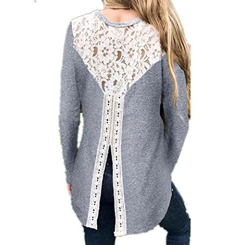 Longra Damen Bluse Festliche Blusen Elegante Blusen mit Spitze Damenmode Kleidung Schöne Oberteile Spitze Tunika Hemdblusen Blusenshirt Langarmshirt (Gray, L)