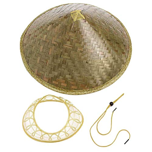 her orientalischer Coolie Sun Hut gestrichener Bambus-Strohhut-Tourismus-Regen-Kappen-konischer Landwirt-Unisexfischereis-Hut ()
