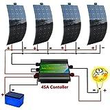 ECO-WORTHY 400W 12V/24V Mono Flexible Panel Solar Kits: 4pcs 12V 100W Mono paneles solares + 45W controlador de carga Off Grid Tie recargable en casa, coche, barco, caravana