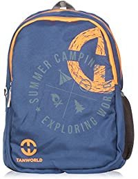 TANWORLD Holden Blue & Orange Lightweight Polyester 24 Liter School College Backpack Casual Travel Bag TWBP02_...