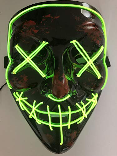 CANASOUR- Máscara de Halloween Escena EL Alambre Luz LED máscara para Festival Carnaval Cosplay Disfraz Fiesta