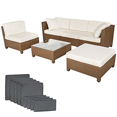 TecTake Conjunto muebles de Jardín en Poly Ratan Aluminio,tornillos de acero inoxidable