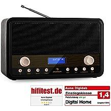 auna Digidab radio DAB+ (alarma, carcasa bassreflex, pantalla LCD, despertador, alimentación en red y con pilas) - negro