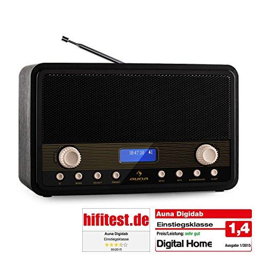 auna Digidab • Digitalradio • Nostalgie Vintage Look • DAB+ / PLL-UKW-Tuner • beleuchtetes LCD-Display mit Dimmfunktion • Datum- und Uhr-Anzeige • Sleep-Timer • Netz- und Batteriebetrieb • schwarz