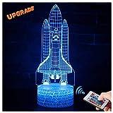 3D Rakete Starten Lampe LED Nachtlicht mit Fernbedienung, USlinsky 7 Farben Wählbar Dimmbare Touch Schalter Nachtlampe Geburtstag Geschenk, Frohe Weihnachten Geschenke Für Mädchen Männer Frauen Kinder
