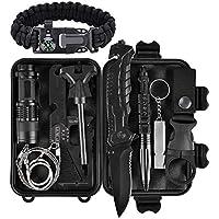 Xuanlan Außen Notfall Survival Kit, Selbsthilfe Survival Kit Set Outdoor Multi-Tool Rettungsdecken/Survival Armbändern