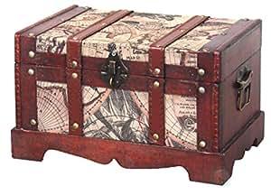 Coffre en bois vieux Carte du monde