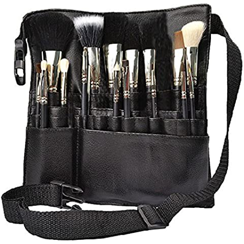 Hotrose 22 Bolsillos profesional cepillo cosmético del maquillaje Bolsa con correa de la empuñadura del artista para la