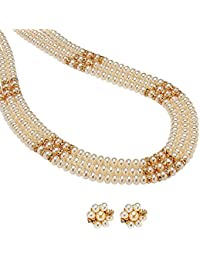 Trendy Souk - Triple line Real Freshwater Hyderabadi Pearls Necklace for Women -White