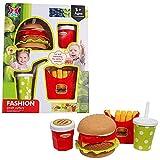 Unbekannt Hamburger Spielset Spielzeug Hamburger Pommes Kinderküche Zubehör Kunststoff Rollenspiele (Bunt)