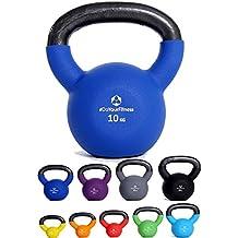 Kettlebell »Kylon« pesa esférica / pesas rusa 2 - 20 kg / Pesa de mano de 100 % hierro con superficie de neopreno / Calidad de gimnasio para un alto rendimiento / 10 kg / azul marino