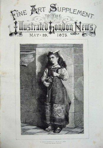 Druck-Kleines Mädchen-Römisch-katholisches Kostüm 1875 der Schönen (Kostüme 1875)