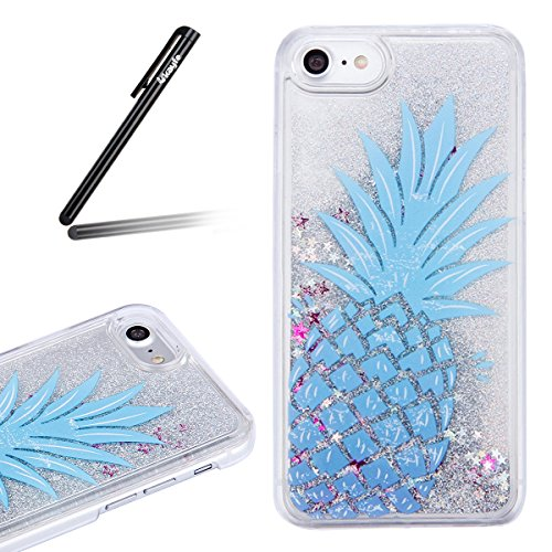 Copertura dura per la iPhone 7/8 plus, iPhone 7/8 plus Custodia Rigida, Case Cover per iPhone 7/8 plus in 3D Trasparente, Ukayfe Flowing Sparkles Argento Shinny Glitter Scintillio Bling Stars Polvere  Blu Ananas