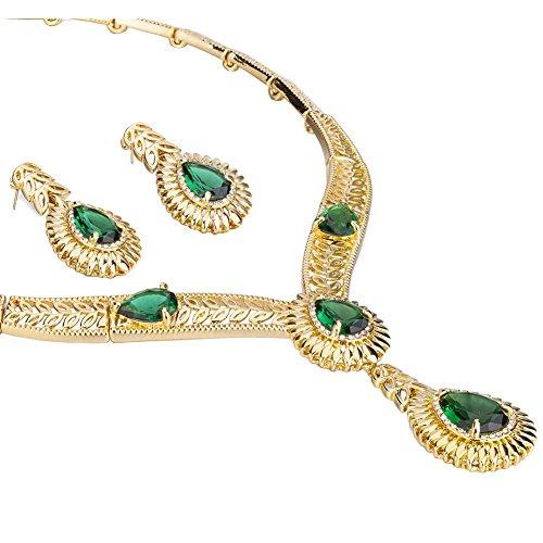 Janeo Jewellery Sets, Luxury 3 & 4 Pieces Herren -  14K Gold  Smaragdgrün     (Cz Großhandel Kostüme Schmuck)