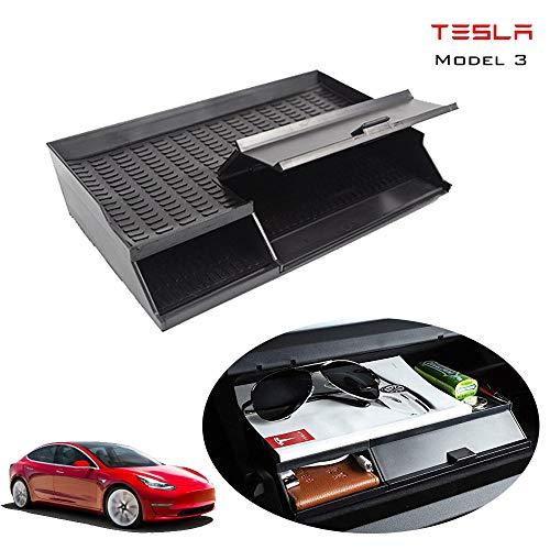 CONRAL Auto Mittelarmlehne Handschuhfach Verstauen Aufräumen Box für Tesla Model 3 2018-2019, Double Layer Dashboard Organizer Box Halter Container