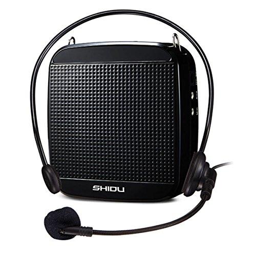 SHIDU SD-S512 Sprachverstärker (15W) mit 2000mAh Lithium-Batterie und Internes Mikrofon für Lehrer, Reiseleiter und Yoga-Lehrer (Schwarz/Wired)