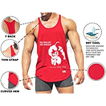 dk Active Wear Bodybuilding Tank Top, Stringer Vest, Gym Vest (Men Shouldn't Print) Red Color - Dri Cool