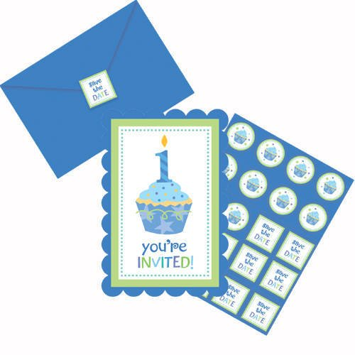 amscan Einladungskarten blau 1.Geburtstag (Pack 8 St.) (Geburtstag 1 St)