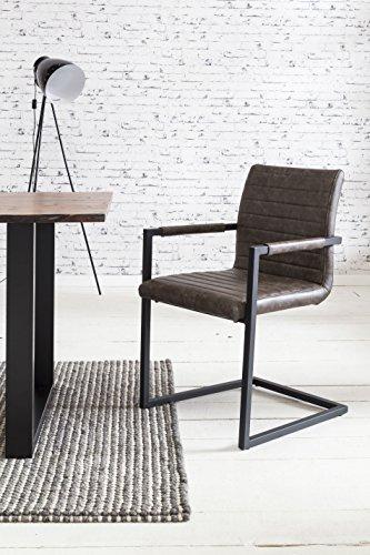 SalesFever 2er Set Stilvoller Armlehnstuhl Alessia in dunkelbraun, Stuhl in elegantem Design, Esszimmerstuhl mit Kunstleder bezogen, schwarz lackiertem Fuß
