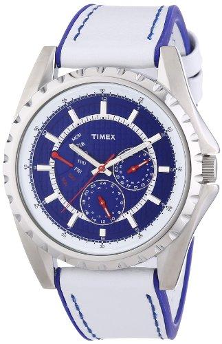 Timex Retrograde T2N110 – Reloj de caballero de cuarzo, correa de piel color blanco