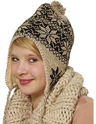 Bonnet d'hiver norvégienunisexeavec pompon et jolis rubans - 10 couleurs tendance au choix - taille unique