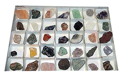 Mineralien Rohsteine Edelsteine Sammlung 40 Stück einzeln benannt z.B. Rosenquarz Bergkristall Amethyst Fluorit.(2152) (Sammlung Edelstein)