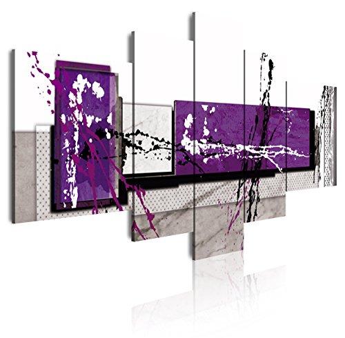 Tríptico - Cuadro moderno en lienzo 5 piezas estilo abstracto en tonos morado, blanco y negro, 180x3x85cm