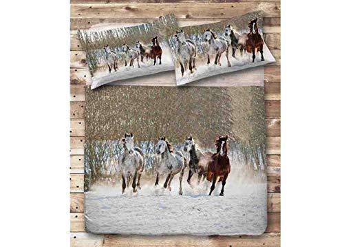 BIANCHERIAWEB Bettwäsche aus 100% Baumwolle Digitaldruck Pferd Singolo Cavalli - Cavalli Bettwäsche