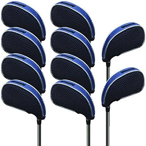 Andux malla funda de palo de golf hierros con ventana 10pcs/set 01-YBMT-001-02 Negro/azul