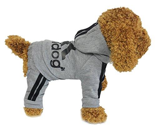 Zehui Haustier Hund Warmen Vier Beine Hoodies Welpe Pullover T-shirt Kleidung Winter-Pullover Bekleidung Grau XXL - 4