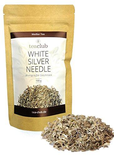 Weißer Tee Chinesisch 100g/Tee weiß White Silver Needle zitronig-blumig-süß mit kleinen weißen Silberspitzen/Weißer Tee von TeaClub