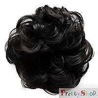 PRETTYSHOP Haarteil Haargummi Hochsteckfrisuren unordentlicher Dutt gewellt VOLUMINÖS schwarz #1B G1A
