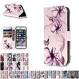 LA-Otter Coque Apple iPhone 5 5S Se Fleurs Flip Case Housse Etui à Rabat Folio Motif...