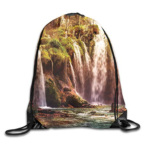 Jebnpse Printed Drawstring Backpacks Bags,Waterfall Forest Tree Moss Lake Stones Rocks Wonder of The World Image,Adjustable String Closure -