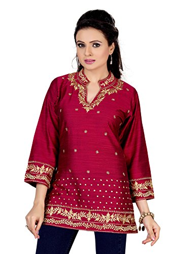 Dragaon-Alluring Magenta Indian Embroidered Designer Kurti Tunic(BH-27-48