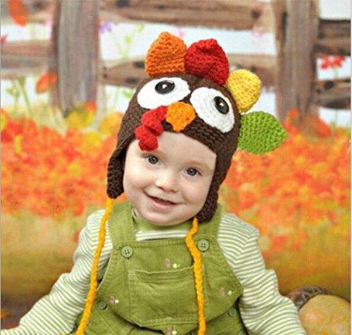 Hillento Urlaub Thanksgiving Kostüm Baby Thanksgiving Türkei Hut, gestrickte häkeln Kostüm Hut Mützen für Unisex Baby Kleinkind, Kaffee, L